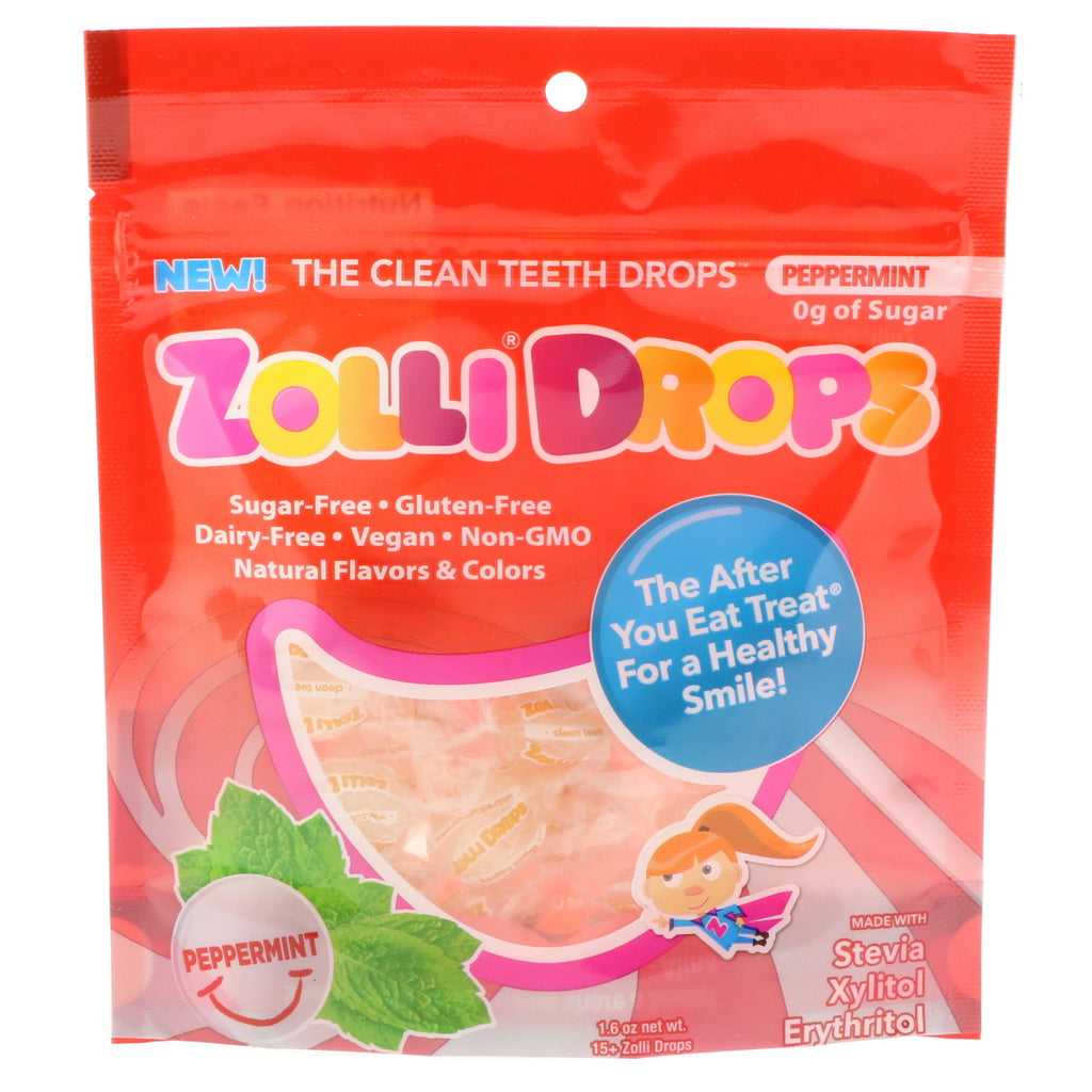 Zollipops  Zolli Drops The Clean Teeth Drops Peppermint 15+ Zolli Drops 1.6 oz