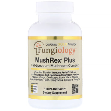 California Gold Nutrition, Fungiology, MushRex Plus, Full-Spectrum Mushroom Complex, Certified Organic, Immune Assist™ Micron, 120 Plant Caps