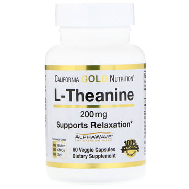 California Gold Nutrition, L-Theanine, AlphaWave, Supports Relaxation, Calm Focus, 200 mg, 60 Veggie Capsules