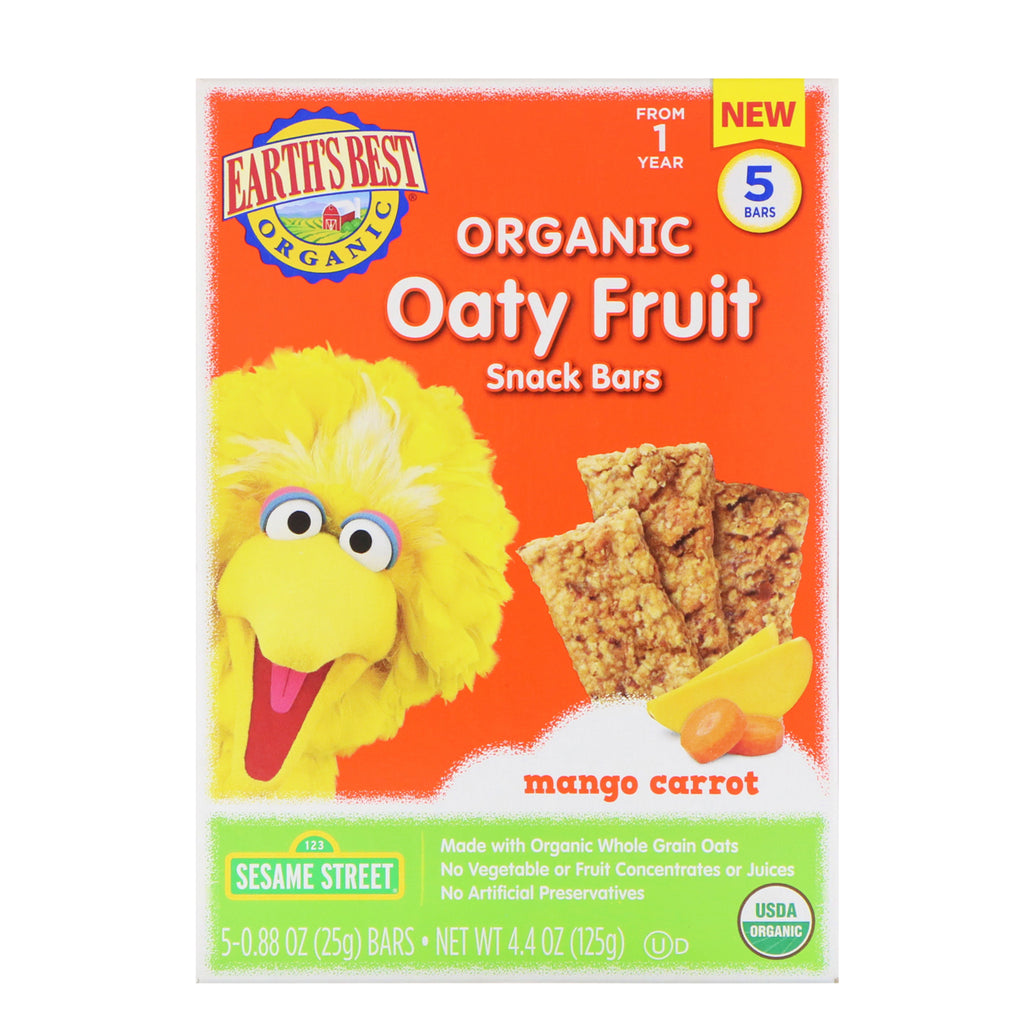 Earth's Best Sesame Street Organic Oaty Fruit Snack Bars Mango Carrot 5 Bars 0.88 oz (25 g) Each