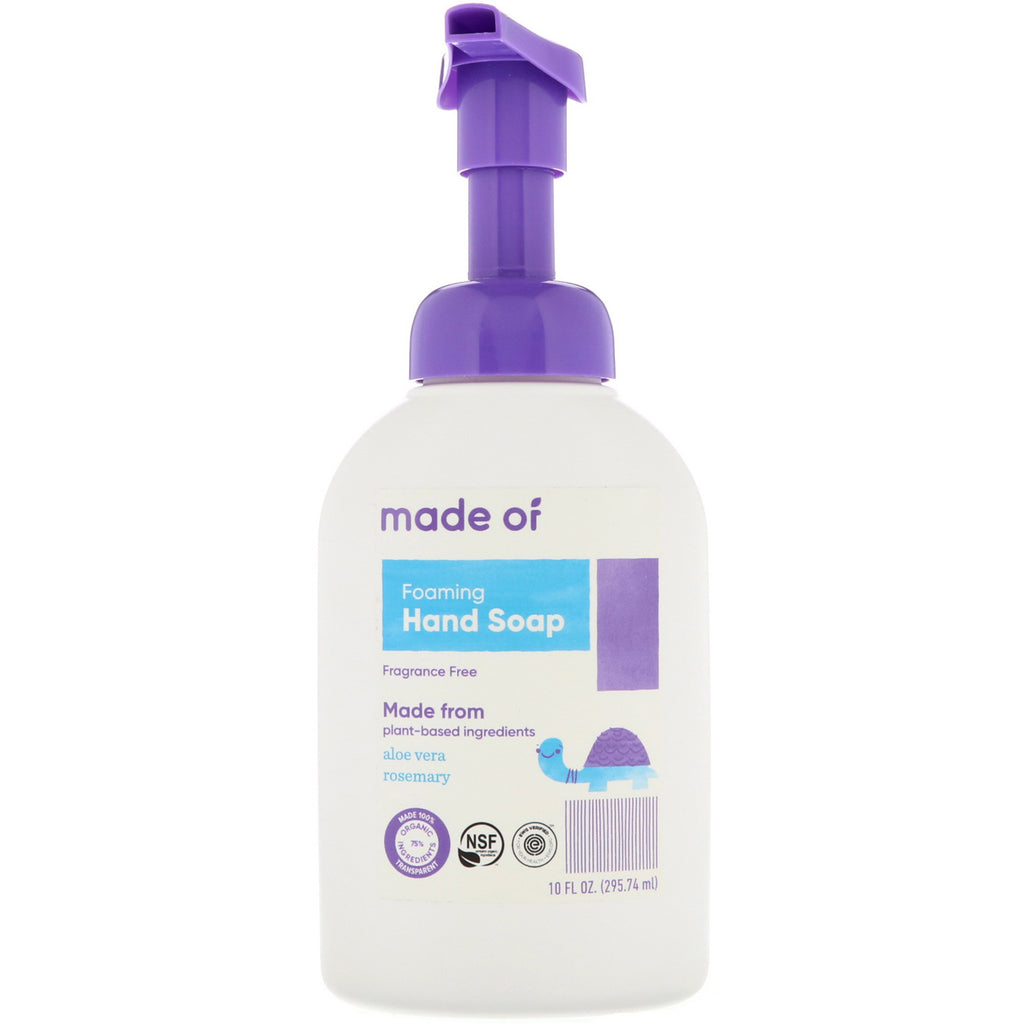 MADE OF, Foaming Hand Soap, Fragrance Free, 10 fl oz (295.74 ml)