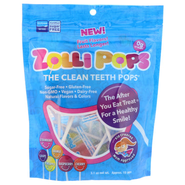 Zollipops  The Clean Teeth Pops Strawberry Orange Raspberry Cherry Grape Pineapple Approx. 15 Pops 3.1 oz