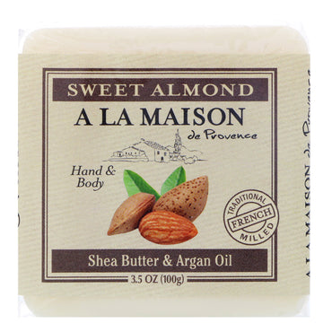 A La Maison de Provence, Hand & Body Bar Soap, Sweet Almond, 3.5 oz (100 g)