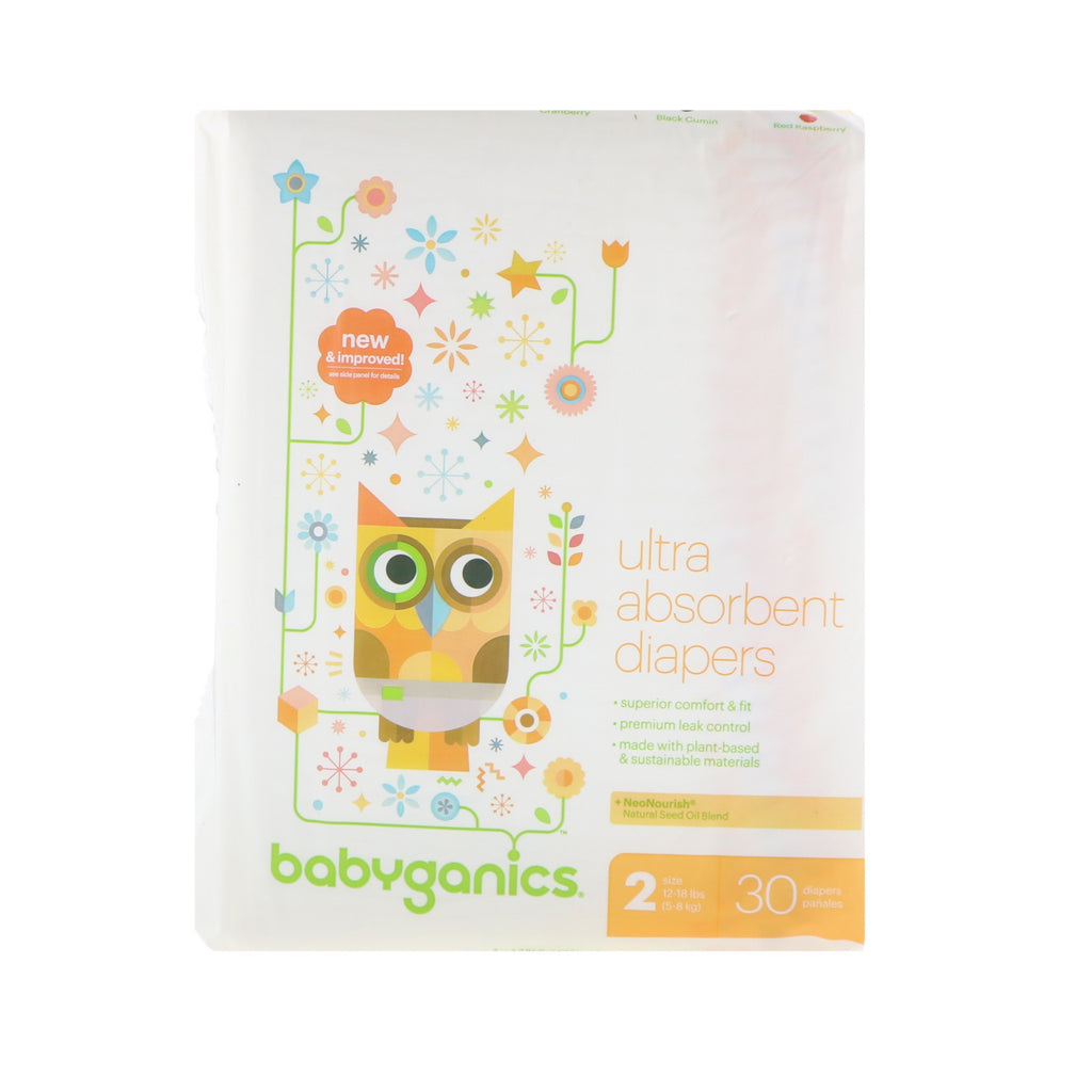 BabyGanics, Ultra Absorbent Diapers, Size 2, 12-18 lbs (5-8 kg), 30 Diapers