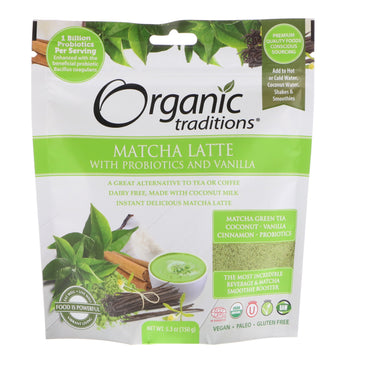 Organic Traditions, Matcha Latte with Probiotics and Vanilla, 5.3 oz (150 g)