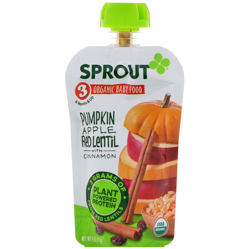 Sprout Organic Baby Food Stage 3 Pumpkin Apple Red Lentil With Cinnamon 4 oz (113 g)
