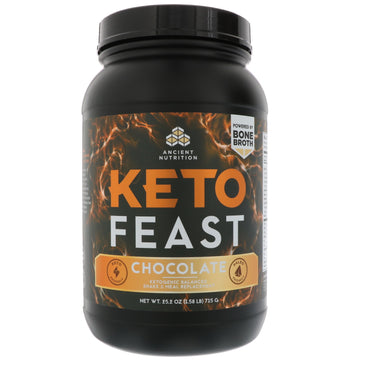 Dr. Axe / Ancient Nutrition, Keto Feast, Ketogenic Balanced Shake & Meal Replacement, Chocolate, 25.2 oz (715 g)