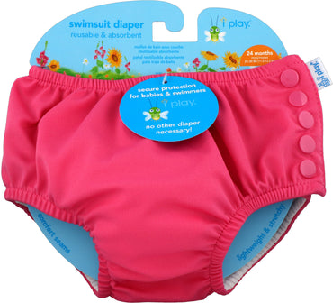 iPlay Inc., Swimsuit Diaper, Reusable & Absorbent, 24 Months, Hot Pink, 1 Diaper