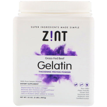 Zint Grass-Fed Beef Gelatin Thickening Protein Powder 32 oz (907 g)