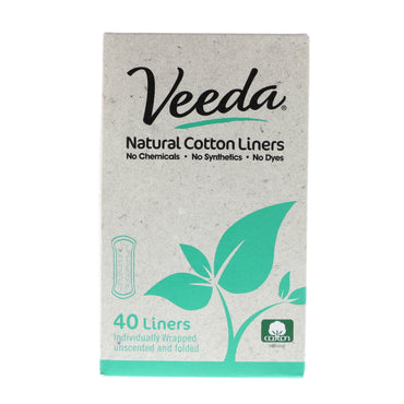 Veeda, Natural Cotton Liners, Unscented, 40 Liners