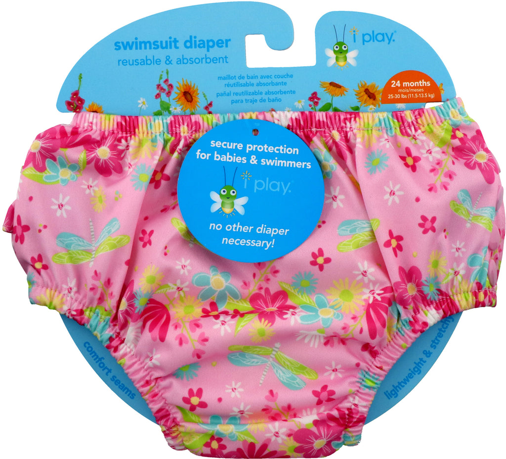 iPlay Inc., Swimsuit Diaper, Reusable & Absorbent, 24 Months, Light Pink Dragonfly, 1 Diaper