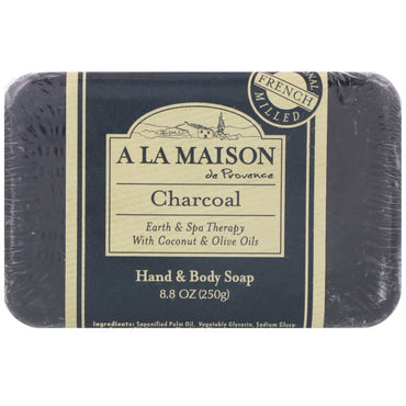 A La Maison de Provence, Hand & Body Bar Soap, Charcoal, 8.8 oz (250 g)