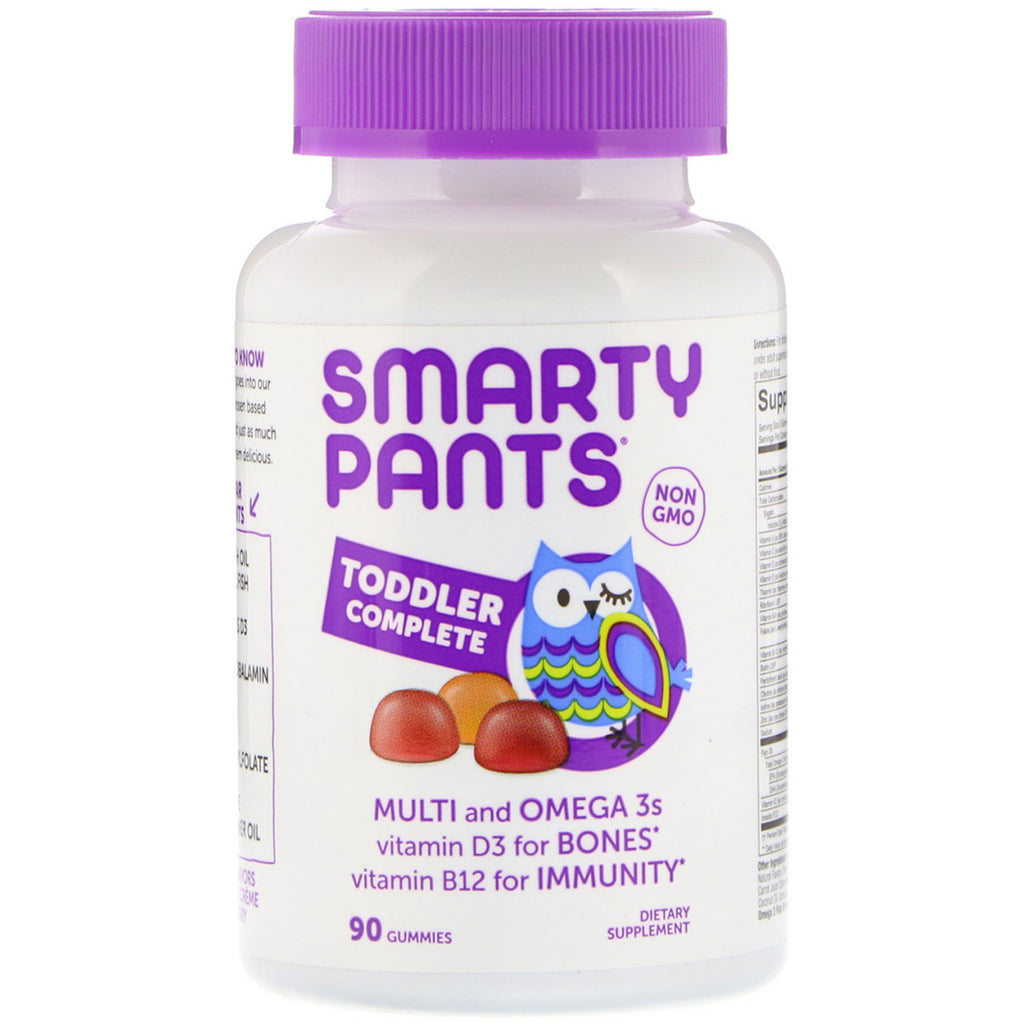 SmartyPants, Toddler Complete, Grape, Orange Creme and Blueberry, 90 Gummies