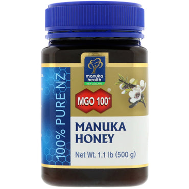 Manuka Health, Manuka Honey, MGO 100+, 1.1 lb (500 g)