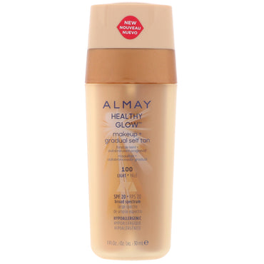 Almay, Healthy Glow Makeup + Gradual Self Tan, 100, Light, SPF 20, 1 fl oz (30 ml)