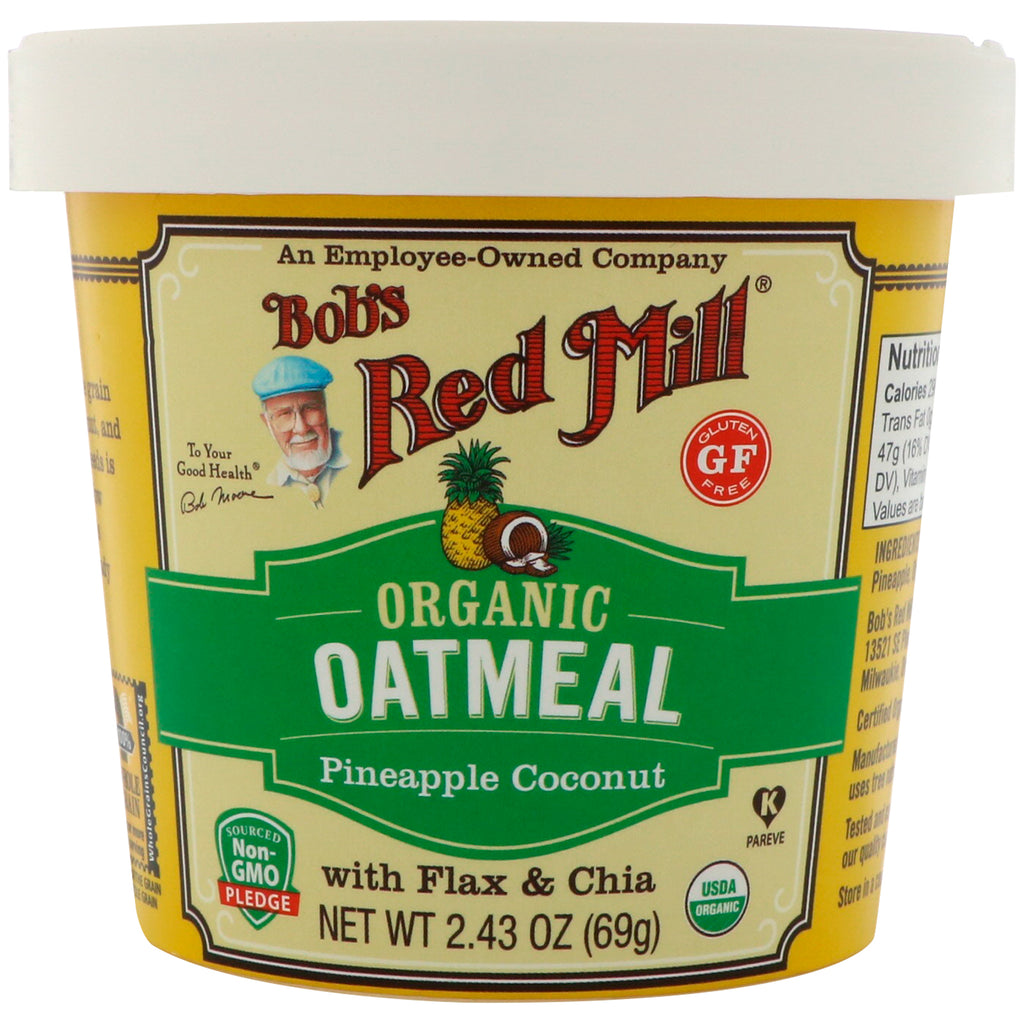 Bob's Red Mill Organic Oatmeal Cup Pineapple Coconut with Flax & Chia 2.43 oz (69 g)