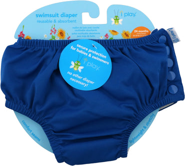 iPlay Inc., Swimsuit Diaper, Reusable & Absorbent, 24 Months, Royal Blue, 1 Diaper