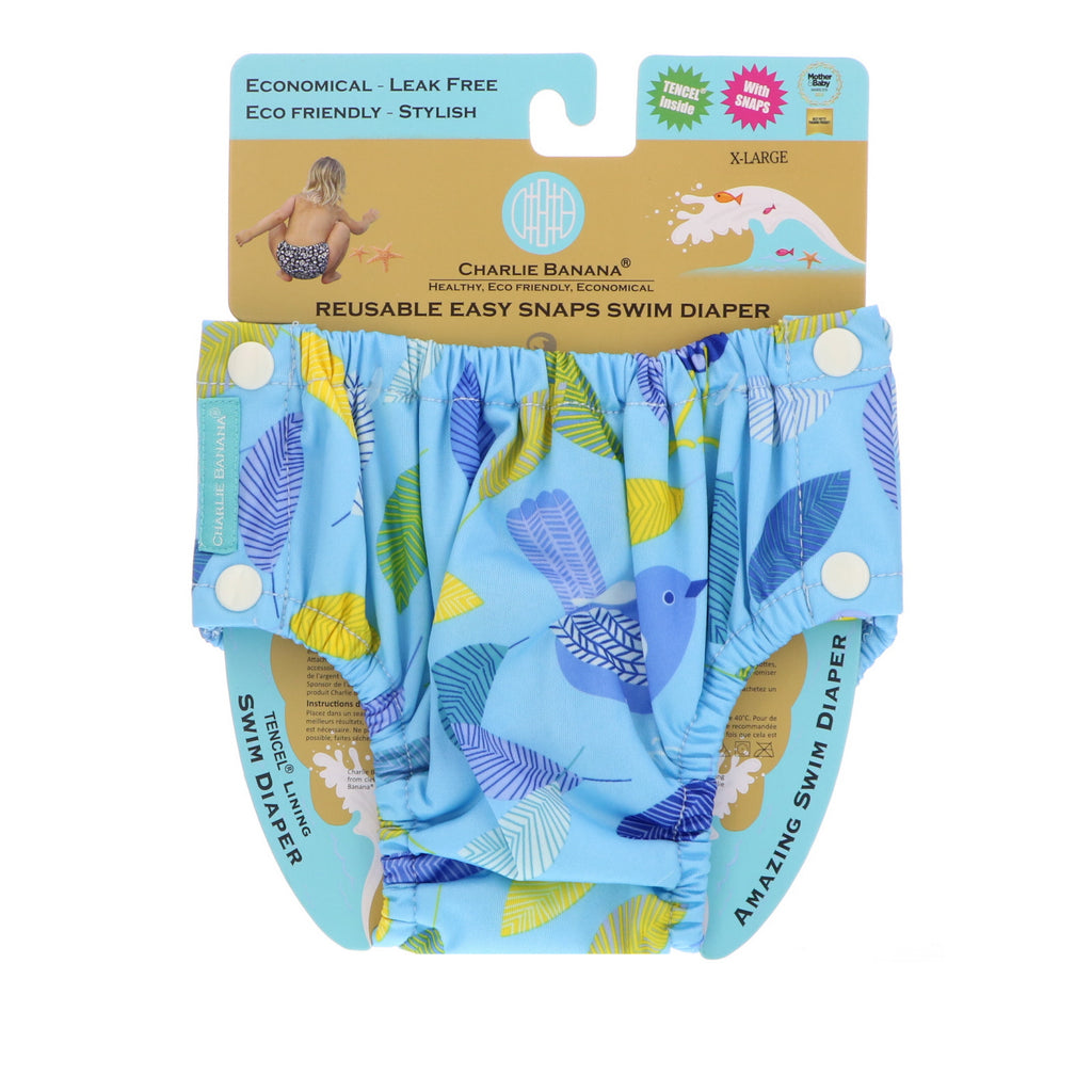 Charlie Banana, Reusable Easy Snaps Swim Diaper, X-Large, 1 Diaper