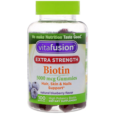 VitaFusion, Extra Strength Biotin, Hair, Skin & Nails Support, Natural Blueberry Flavor, 5000 mcg, 100 Gummies