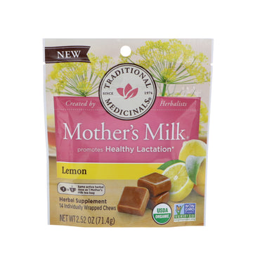 Traditional Medicinals, Organic, Mother's Milk, Lemon, 14 Individually Wrapped Chews, 2.52 oz (71.4 g)