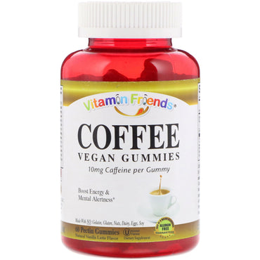 Vitamin Friends, Coffee, Vegan Gummies, Natural Vanilla Latte Flavor, 60 Pectin Gummies