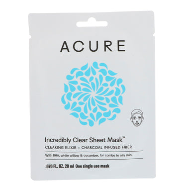 Acure, Incredibly Clear Sheet Mask, 1 Single Use Mask, 0.676 fl oz (20 ml)