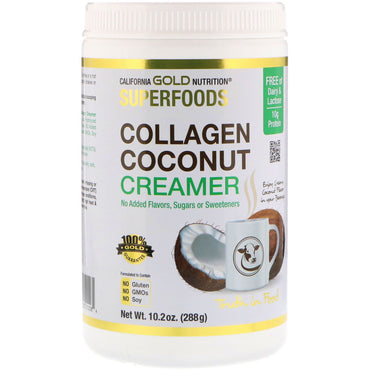 California Gold Nutrition, Superfoods, Collagen Coconut Creamer Powder, Unsweetened, 10.2 oz (288 g)