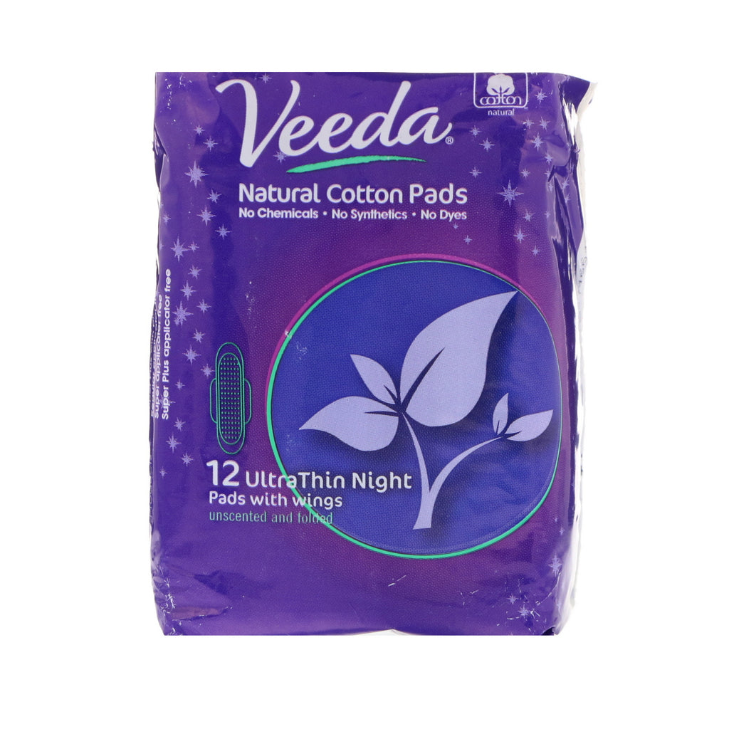 Veeda, Natural Cotton Pads with Wings, Ultra Thin, Night, 14 Pads