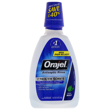 Orajel Antiseptic Rinse For All Mouth Sores Fresh Mint 16 fl oz (473.2 ml)