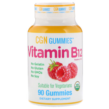 California Gold Nutrition, Vitamin B12 Gummies, No Gelatin, No Gluten, Natural Raspberry Flavor, 90 Gummies