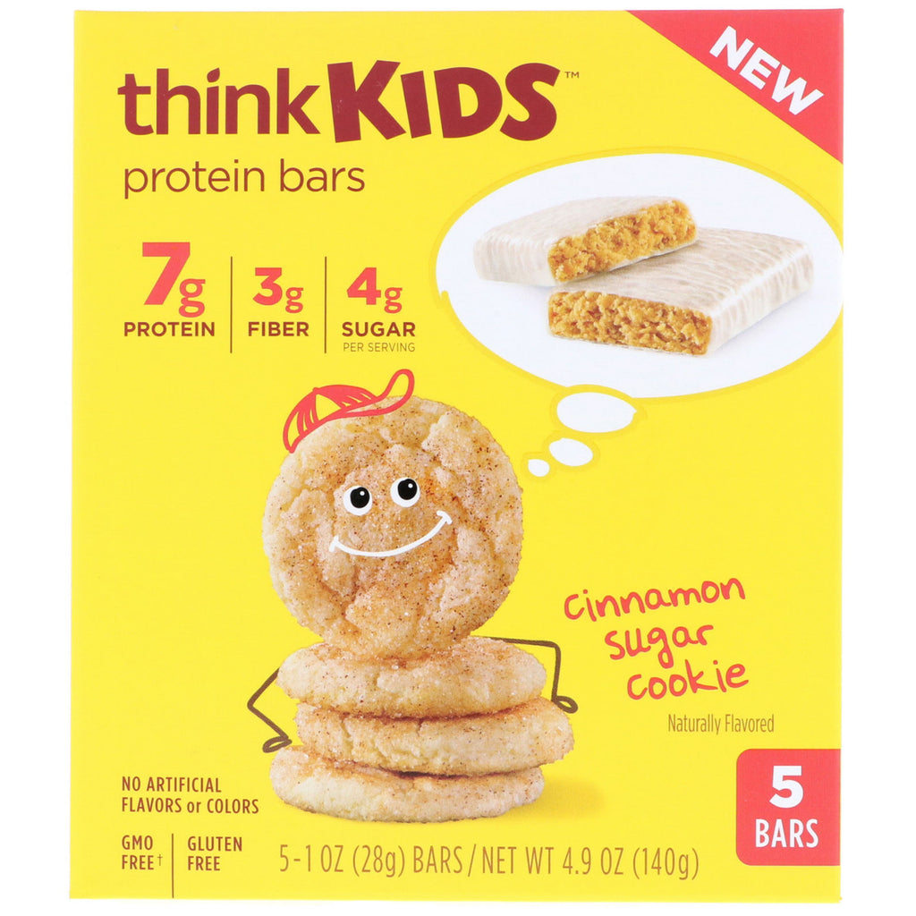 ThinkThin ThinkKids Protein Bars Cinnamon Sugar Cookie 5 Bars 1 oz (28 g) Each