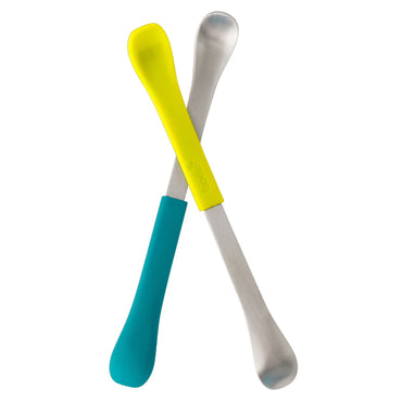 Boon, Swap, 2-in-1 Feeding Spoon, 4+ Months, Teal & Yellow, 2 Spoons