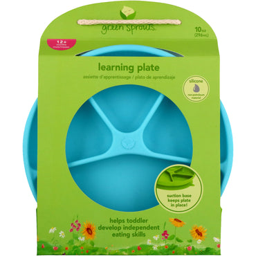 iPlay Inc., Green Sprouts, Learning Plate, Aqua, 12+ Months, 1 Plate, 10 oz (296 ml)