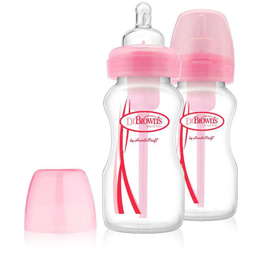 Dr. Brown's, Natural Flow, Options, Wide-Neck, Special Edition, Pink, 0+ Months, 2 Pack Bottles, 9 oz (270 ml) Each