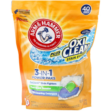 Arm & Hammer, Plus OxiClean 3-IN-1 Power Packs Laundry Detergent, Fresh Scent, 40 Paks