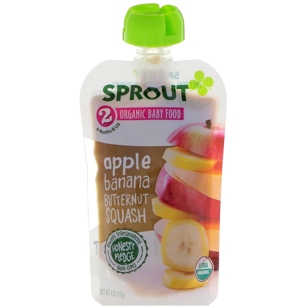 Sprout Organic Baby Food Stage 2 Apple Banana Butternut Squash 4 oz (113 g)