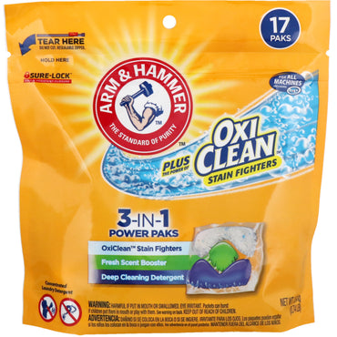 Arm & Hammer, Plus OxiClean 3-IN-1 Power Paks Laundry Detergent, Fresh Scent, 17 Paks