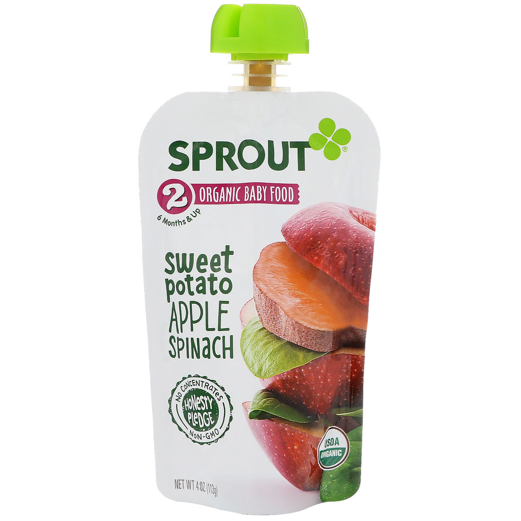 Sprout Organic Baby Food Stage 2 Sweet Potato Apple Spinach 4 oz (113 g)