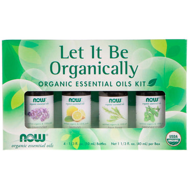 Now Foods, Let It Be Organically, Organic Essential Oils Kit, 4 Bottles, 1/3 fl oz (10 ml) Each