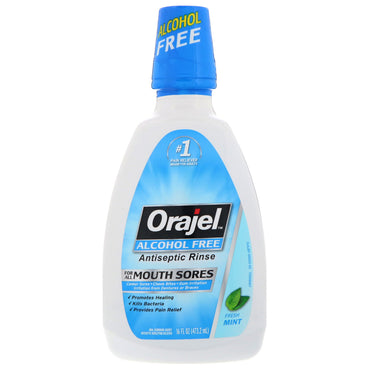 Orajel Antiseptic Rinse For All Mouth Sores Alcohol-Free Fresh Mint 16 fl oz (473.2 ml)