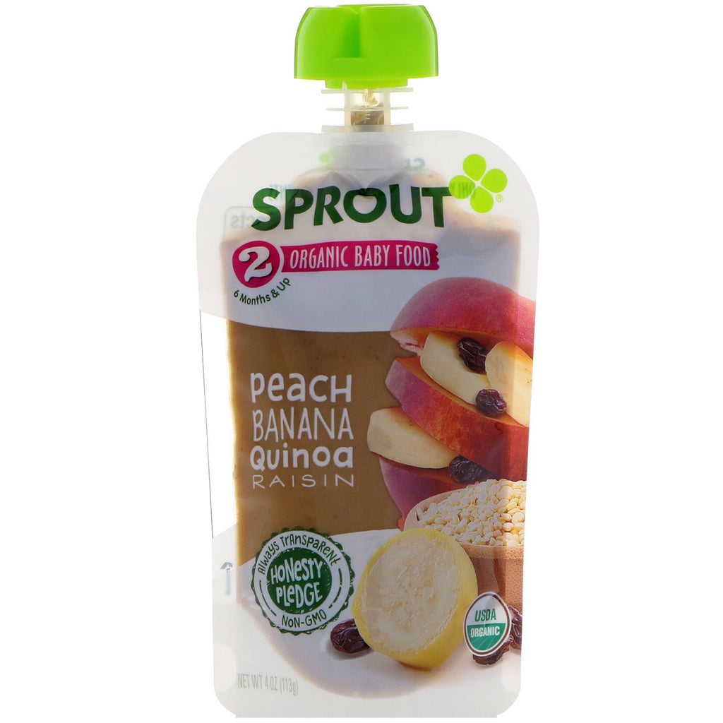 Sprout Organic Baby Food Stage 2 Peach Banana Quinoa Raisin 4 oz (113 g)
