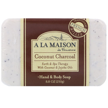 A La Maison de Provence, Hand & Body Bar Soap, Coconut Charcoal, 8.8 oz (250 g)
