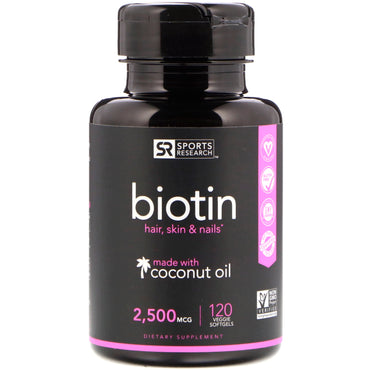 Sports Research, Biotin, 2,500 mcg, 120 Veggie Softgels
