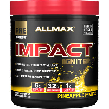ALLMAX Nutrition, IMPACT Igniter, Pre-Workout, Citrulline Malate + Beta-Alanine + NAC, Pineapple Mango, 11.6 oz (328 g)