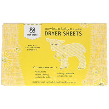 GrabGreen Dryer Sheets Newborn Baby Calming Chamomile with Essential Oils 0-4 Months 30 Compostable Sheets