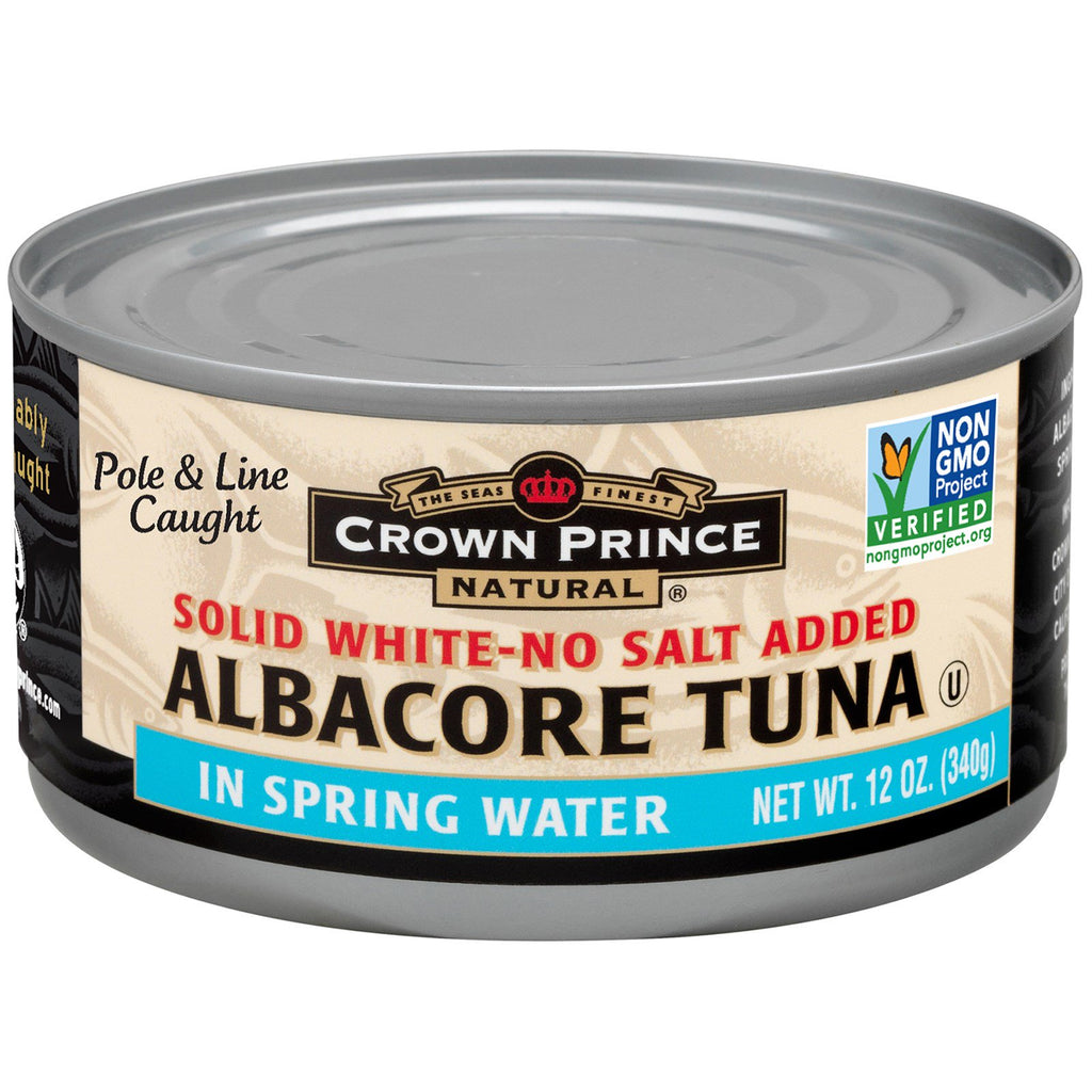 Crown Prince Natural, Albacore Tuna, Solid White-No Salt Added, In Spring Water, 12 oz (340 g)