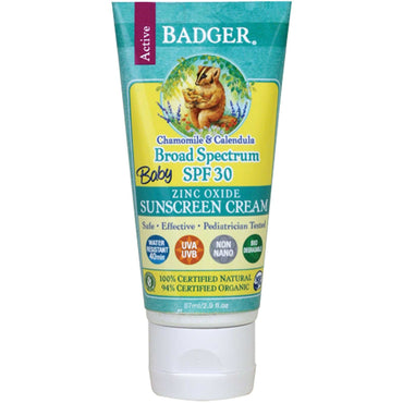 Badger Company Baby Sunscreen Cream Broad Spectrum SPF 30 Chamomile & Calendula 2.9 fl oz (87 ml)