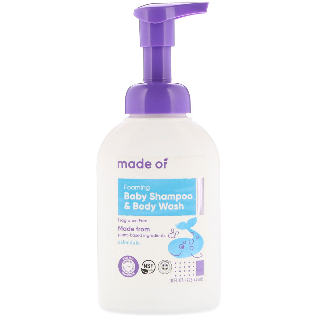 MADE OF, Foaming Baby Shampoo & Body Wash, Fragrance Free, 10 fl oz (295.74 ml)