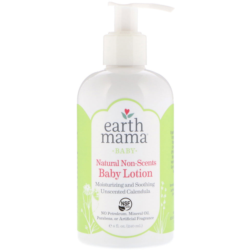 Earth Mama Baby Natural Non-Scents Baby Lotion Unscented Calendula 8 fl oz (240 ml)