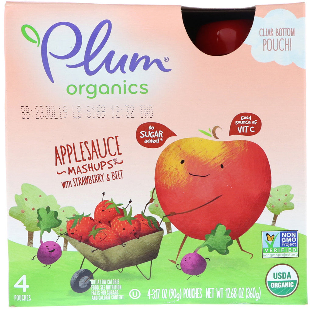 Plum Organics Organics Applesauce Mashups with Strawberry & Beet 4 Pouches 3.17 oz (90 g) Each